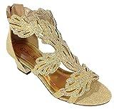 Enzo Romeo Lime03N Womens Open Toe Mid Heel Wedding Rhinestone Gladiator Sandal Wedge Shoes (7.5, Gold)