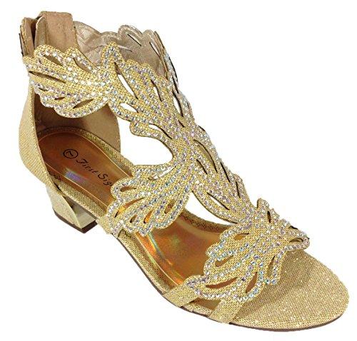 Lime03N Womens Open Toe Mid Heel Wedding Rhinestone Gladiator Sandal Wedge Shoes (7.5, Gold)