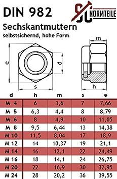 V2A hohe Form - Vollgewinde Flachrundschrauben // Schlossschrauben mit Sicherungsmuttern DIN 603 // DIN 982 - M5x55 - Edelstahl A2 - SC603 // SC982 25 St/ück
