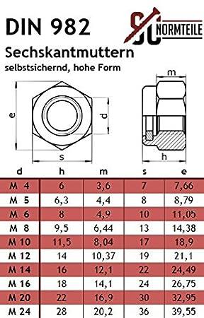 Edelstahl A2 - SC603 // SC982 - Vollgewinde V2A hohe Form DIN 603 // DIN 982 Flachrundschrauben mit Sicherungsmuttern - M8x150 - Schlossschrauben 25 St/ück Stoppmuttern
