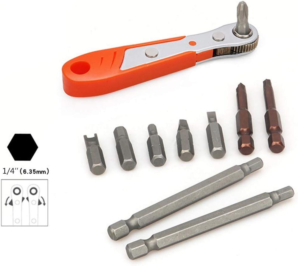 Hexagon Torx Bidirectional Control for Single//Double Head Screwdriver Drill Bits Tool 6.35mm Xzbnwuviei Mini Bit Ratchet Wrench,Mini Magnetic Ratchet Wrench 1//4