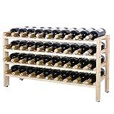 ZENY 40 Bottles Wine Rack Stackable Storage 6 Tier Solid Beechwood Display Shelves Rack Review
