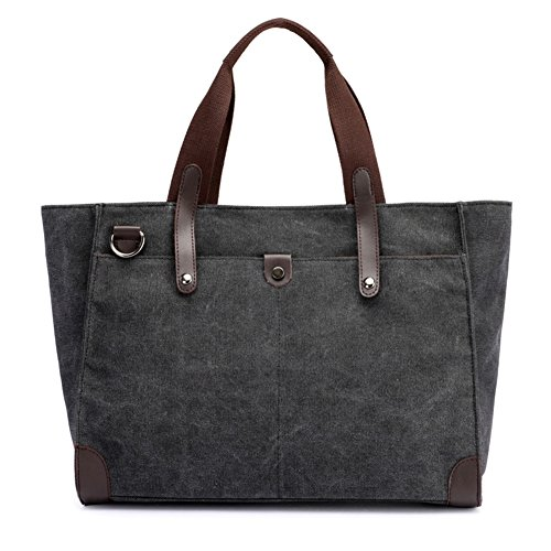 Top Tote Zip Cotton (Z-joyee Women Shoulder Bags Canvas Handbags Tote, Black)