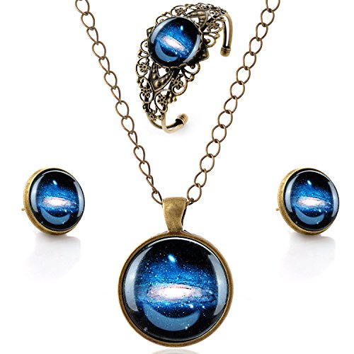 LUREME Time Gem Series Vintage Galactic System Pendant Necklace Stud Earrings Hollow Flower Bangle Jewelry Sets (09000630)