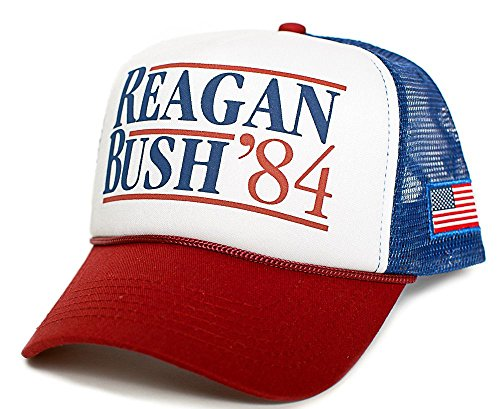 Reagan Bush 84 Hat Back To Back World War Champs USA Flag Unisex Adult Cap ()