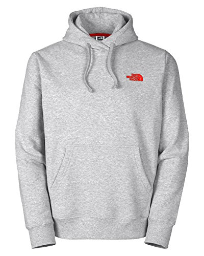 The North Face Men's EMB Logo Pullover Hoodie Heather Grey/TNF Red X-Large
