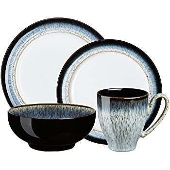Denby HLO-100NEW Halo Dinnerware Set  sc 1 st  Amazon.com & Amazon.com: Denby Duets Black u0026 Blue 4-piece Place Setting ...
