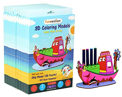 Funvention Ship - 3D Coloring Model (Pack of 6) - DIY Desk Organizer Pen Stand - STEM Leanring 3D Puzzle Toy - Art, Coloring and Painting Kit for Kids - Birthday Return Gift,DIY Party Pack for Kids (B07J55K7H8) Amazon Price History, Amazon Price Tracker