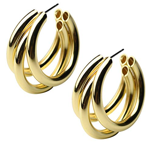 MIUPER BLOsssM 14k Yellow Gold Plated Alloy Polished Wide Round Tube Semi Circle Half Hoop Stud Earrings for Women (Gold)
