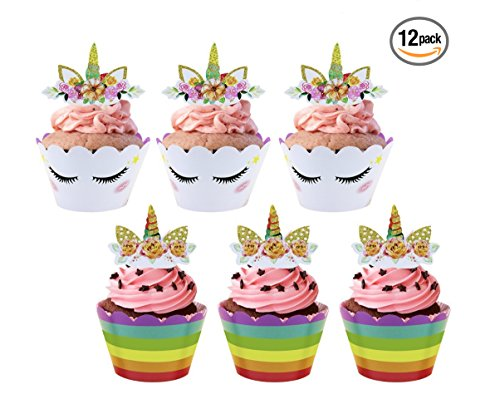 (Unicorn Cupcake topper Happy Birthday Party Supplies - Set of 12 Pack For Congratulation Decoration Anniversary Festival Graduation Bouquet Gift Idea bridal Parties Celebration Baby Shower Wedding)