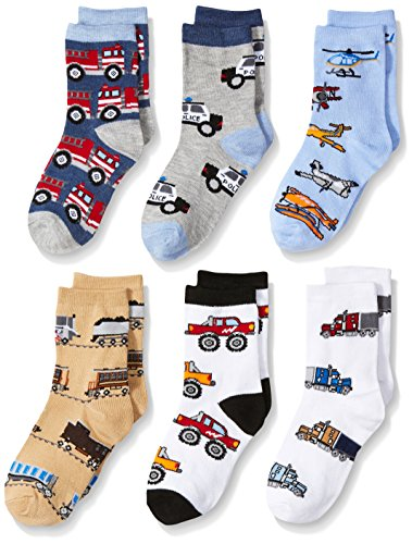 - Jefferies Socks Boys' Little Trains/Trucks/Cars Pattern Crew Socks 6 Pack, Multi, Toddler