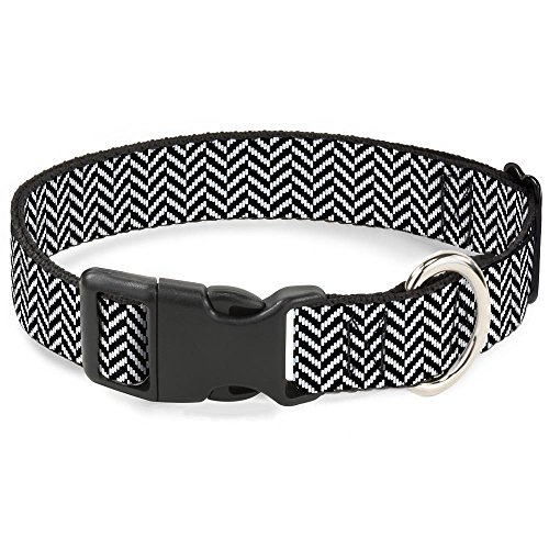 Buckle-Down Plastic Clip Collar - Herringbone Jagged Black/White - 1/2