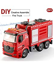 INvench Fire Pump Engine Truck - Fire Truck Take Apart Toys Wish Real Splash Water Water Luces Intermitentes y Sirenas Gran Regalo para niños Niñas de 3,4,5,6,7,8