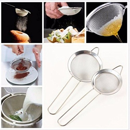 Tacoli- Stainless Steel Kitchen Pastry Tools Stainless Steel Baking Tools Mesh Wire Flour Handheld Screen Mesh Strainer Flour Sieve by Tacoli