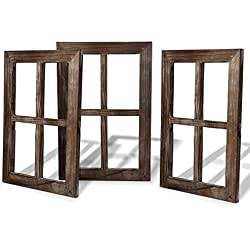 Cade Rustic Window Barnwood Frames -Decoration for Home or Outdoor, Not for Pictures (3, 11X15.8 inch)