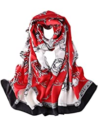 Long Fashion Silk Scarf Floral and Graphic Print