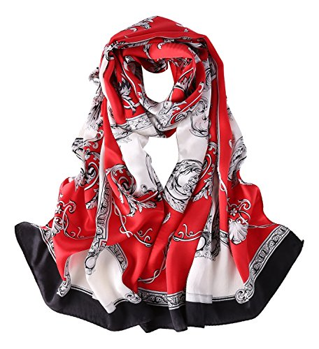 (Long Charmeuse Silk Scarf Floral and Graphic Print (Red With Black Border))