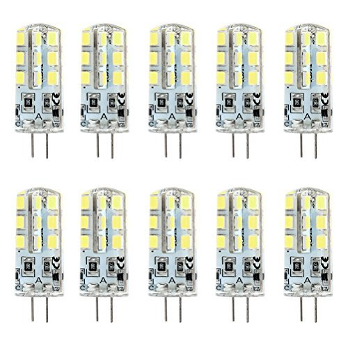 Ralbay G4 LED Bulb 2.5W Bi-Pin LED Light Bulb 242835 SMD 20W Halogen Bulb Equivalent 360 Beam Angle Cool White 6000K DC 12V Only Non-Dimmable(Pack of 10pcs)