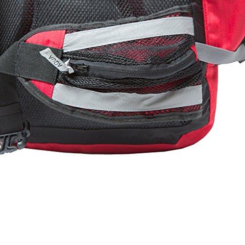 Aqua Quest SPORT 25 Rucksack - 100% wasserdichte reflektierende Tasche 25L Rucksack für Radfahren, Wandern, Schule Rouge et Réfléchissant