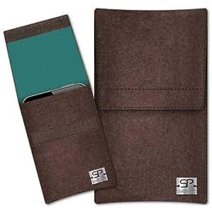 SIMON PIKE Cáscara Funda de móvil Sidney 4 marrón Zopo ZP910 ZP900H LEADER Fieltro de lana