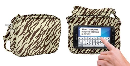 Charm 14 Touchscreen Cross Body Bag Cell Phone Carrying Case - Retail Packaging - Zebra Natural