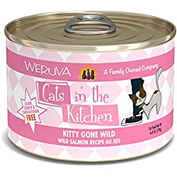 Weruva Cats in the Kitchen, Kitty Gone Wild with Wild Salmon Au Jus Cat Food, 6oz Can (Pack of 24)