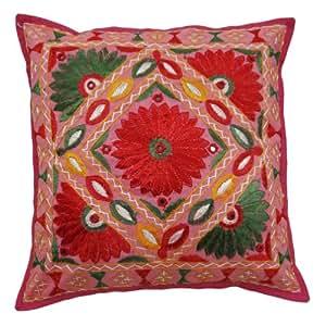 """Cojín decorativo Pure Cotton Funda de almohada bordada trabajo del espejo de la cubierta de la India el 16 de regalo """" Pulgadas"""