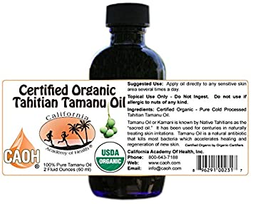 Tamanu Oil – Two 2 oz Bottles of Pure Cold Pressed Certified Organic Tahitian Tamanu Kamani Oil from CAOH