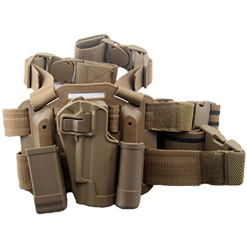 LTY Adjustable Tactical Airsoft Pistol Drop Leg Holster Bag Thigh Right Leg Holster with Magazine Torch Pouch for Colt 1911 M1911 (Tan)