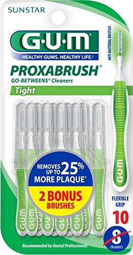 GUM Proxabrush Go-Betweens Cleaners, Tight, 10 (Gum Brush)