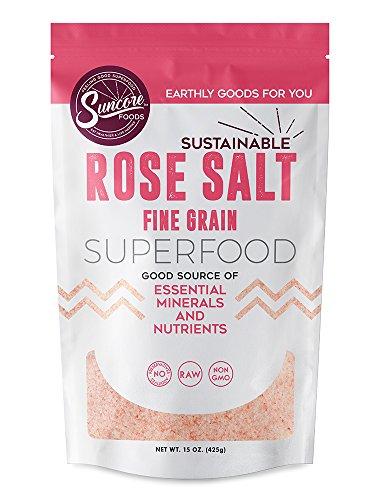 Suncore Foods - Premium Quality Fine Rose Salt (Andean) - 15 oz Resealable (Bolivian Rose)