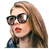 SIPHEW Oversized Mirrored Sunglasses for Women/Men, Polarized Sun Glasses with 100% UV400 Protection