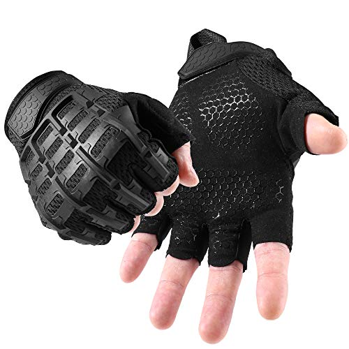 YOSUNPING Tactical Rubber Knuckle Fingerless Gloves Protection Guard for Motorcycle Cycling ATV Bike Motorbike Hunting Hiking Airsoft Paintball Riding Driving Work Outdoor Gear Black L