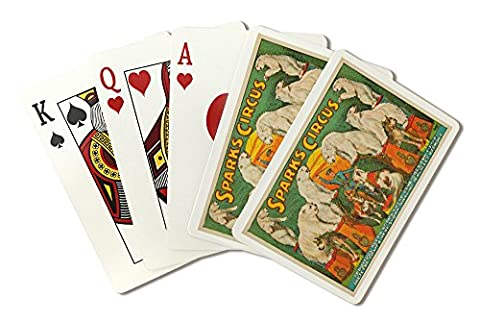 Sparks Circus - Ferocious Polar Bears Vintage Poster USA c. 1924 (Playing Card Deck - 52 Card Poker Size with - Sparks Circus