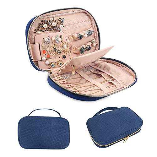 GANAMODA Jewelry Travel Organizer, Soft Padded Traveling Jewelry Bag Case for Earing Necklace Rings Watch Bracelets, Make up Bags 2-in-1 Cosmetic Cases with Necklace Holder ()