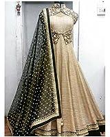 Lady Studio' Womens Georgette & Silk Anarkali Dress Material (Golden & Black)