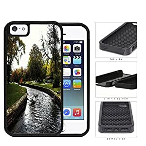 Park And Stream Fall Season Scene 2-Piece Dual Layer High Impact Rubber Silicone Cell Phone Case Apple iPhone 5 5s