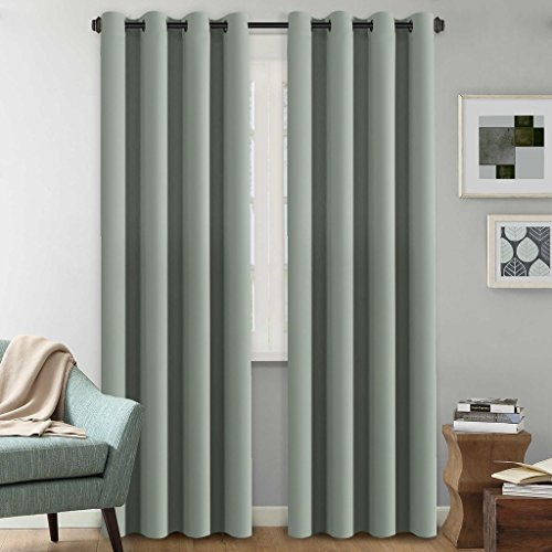Ultra Sleep Blackout Room Darkening Curtains for Bedroom 96 Inch Long, Thermal Insulated Energy Efficient Blackout Window Panel Drapes, Grommet Sliding Door Curtain Panel for Winter - Sage, One Panel