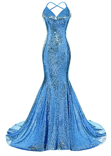 Mermaid Prom Dress Spaghetti Straps V Neck Backless Gowns Blue US 4 (Sequined Applique V-neck Dress)