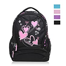 Hynes Eagle Girl's Lightweight Sweetheart Patterns School Backpack (Black)