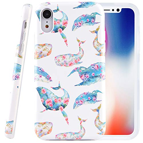 (Dimaka Case for iPhone XR,Dual Layer Cute Floral Whale Flowers Design for Girls,Hybrid Shockproof Hard PC Soft TPU High Impact Protective Case for iPhone XR(123, iPhone XR))