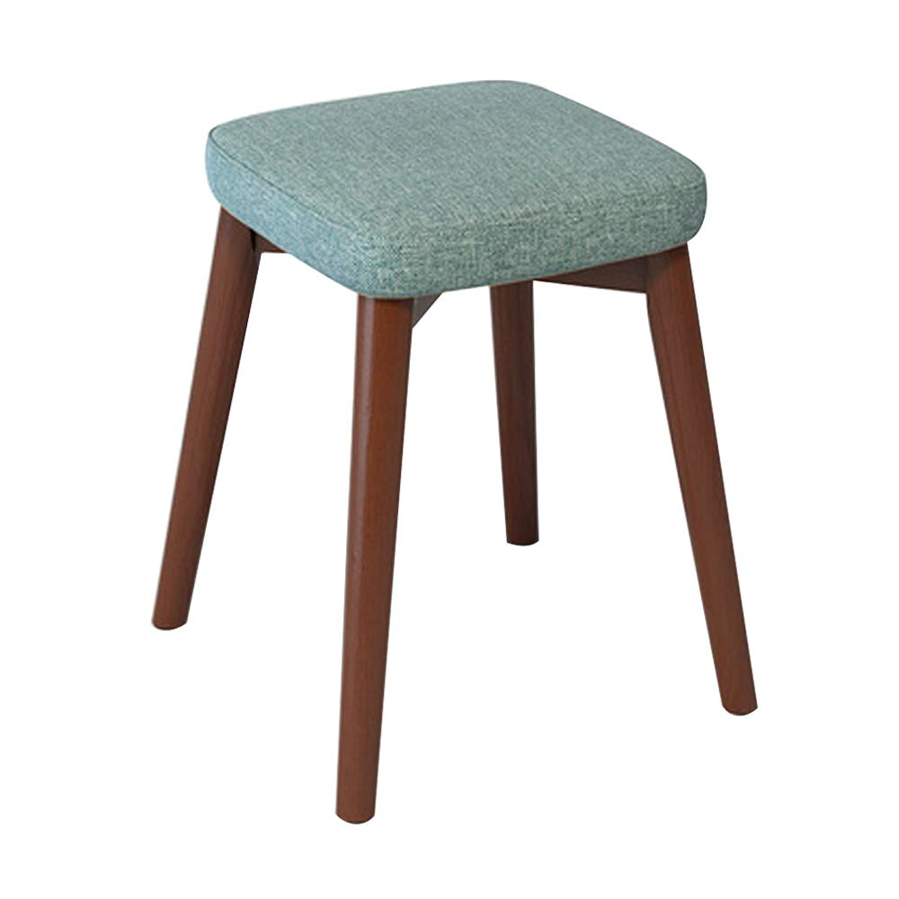Home Dining Stool, Chair Stool Home Decor Stacking Stool Adult Small Wood Stool Living Room High Elastic Sponge Bench Upholstered Padded Stool, Solid Wood (13x13x18IN),Cyan