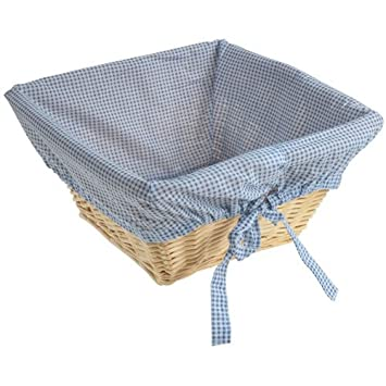 Natural Wicker Basket With Navy Liner