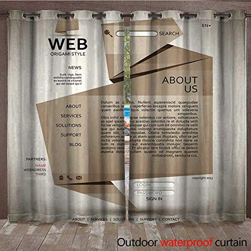 BlountDecor Outdoor Curtain Panel for Patio Origami Style Website Template Waterproof CurtainW120 x -
