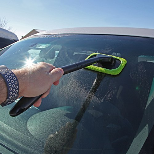 - Trenton Gifts Microfiber Car Windshield Easy Cleaner, Detachable Handle Brush, Cleaning Tool, Come with 2 Pads Washer Towel