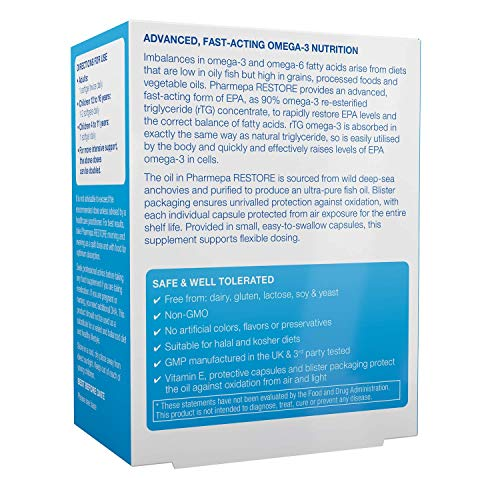 Pharmepa Restore Pure EPA Fish Oil 1000mg EPA Only Triple Strength Omega3 rTG per Serving 1Month