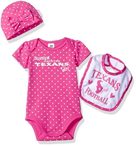 "Gerber Childrenswear ""Sweetest"" Bodysuit, Bib & Cap Set, 3 - 6 Months, Pink, Houston Texan"