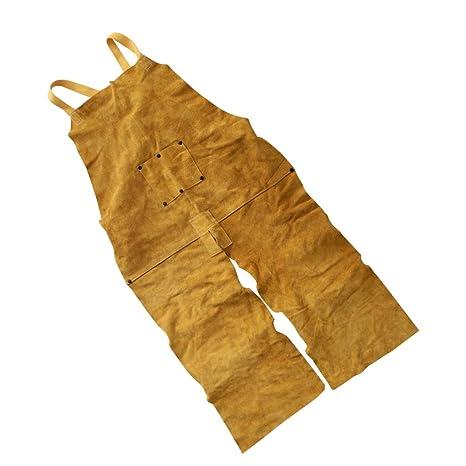 Homyl Delantal de Soldadura de Cuero Resistente al Calor con Tipo Pantalones Correas Ajustables para Soldador