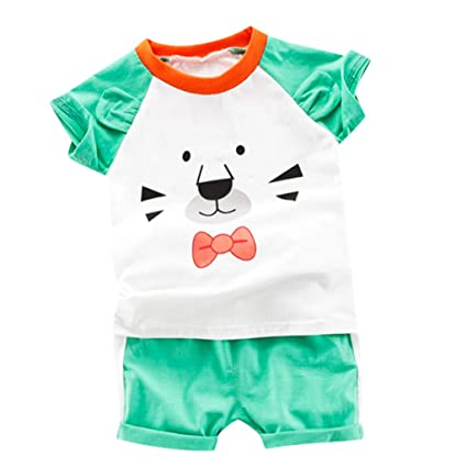 f639fbcd9a30 Amazon.com: Toddler Boy Cartoon Sports Set 🏀 Cute Graphic Crew Neck Tops +  Stripe Shorts Pants 🏀 Summer Outdoor Clothes Suits (2-3 Years, Green):  Garden & ...