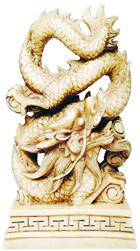 Ivory Colored Dragon Coiled Statue (Dragon Coiled)